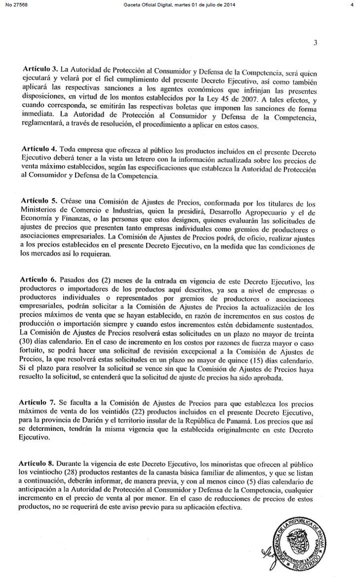 Panamá decreto 3